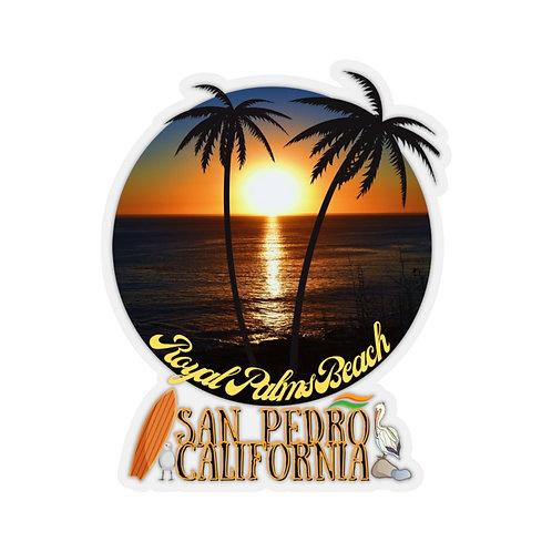 San Pedro California Royal Palms Beach Kiss-Cut Stickers