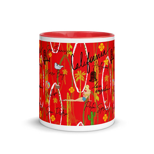 California Vintage Retro Red Mug with Color Inside