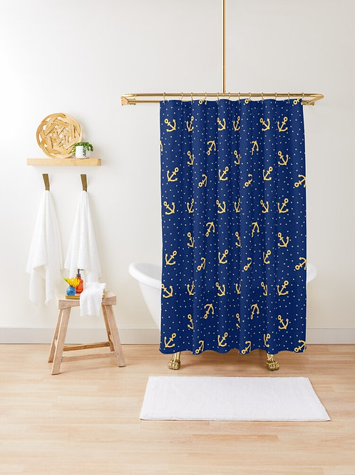 Shower Curtain Nautical Anchors and Stars Sapphire Blue