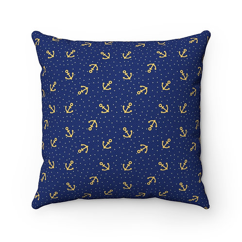 Square Pillow Case Only   Nautical Pillow Case   Blue And Gold Pillow Case