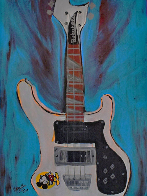 Note Card Vintage Rickenbacker Bass Abstract Art By Concetta Ellis