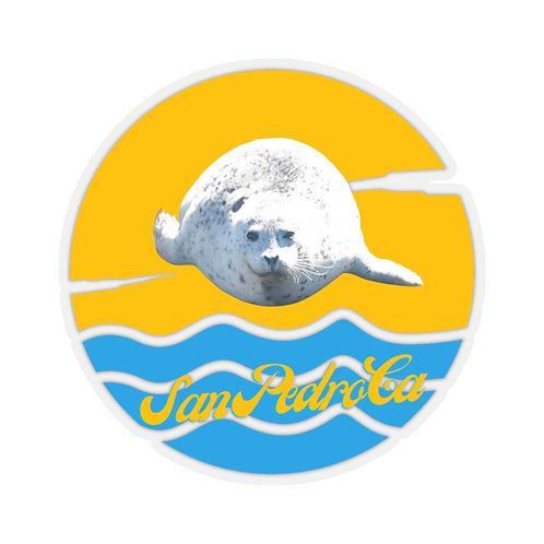 White Seal Kiss-Cut Stickers San Pedro California