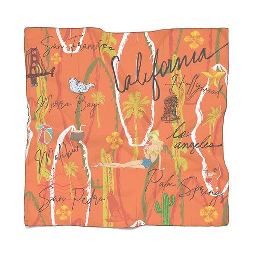 California Vintage Scarf   Orange Scarf   Summer Scarf   Lightweight Scarf