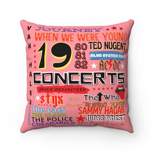 Rock N Roll Pillow | Pink Rock N Roll Pillow And Cover | 80s Concert Pillow