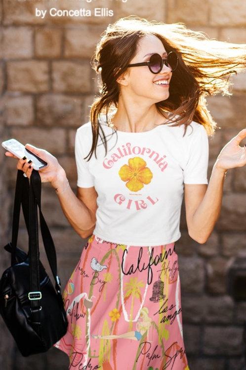 California Vintage Skater Skirt  Pink