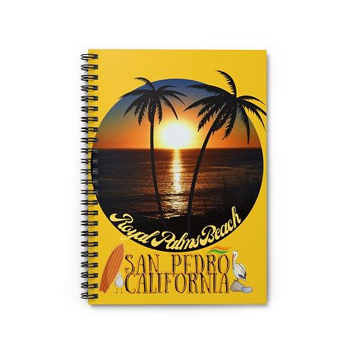 Spiral Notebook San Pedro California Royal Palms Beach Yellow Gold - Ruled Line