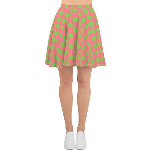 St. Patty's Day Pink Green Clover Skater Skirt