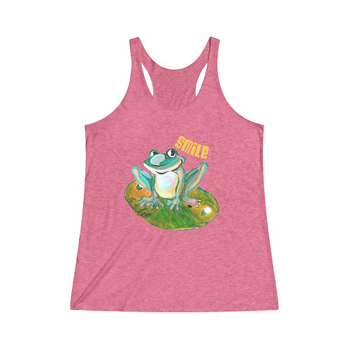 Ladies Tank Top | Frog Tank Top | Vintage Colors | SMILE | Frog And Lily Pad