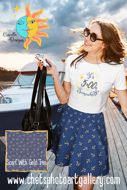 Skater Skirt Anchors And Stars Dark Sapphire And Gold