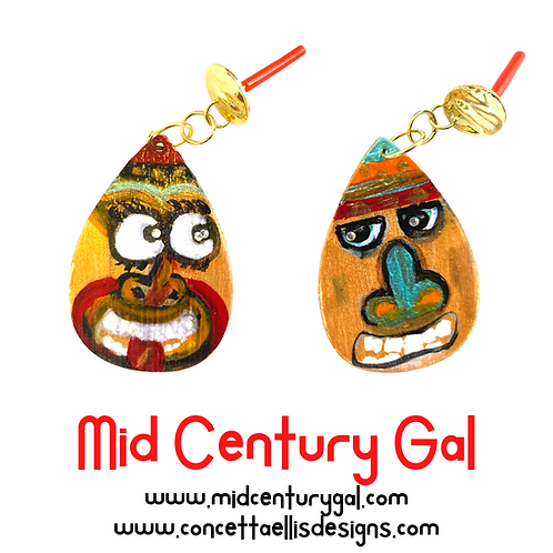 Painted Wood Earrings  Abstract Tiki Faces