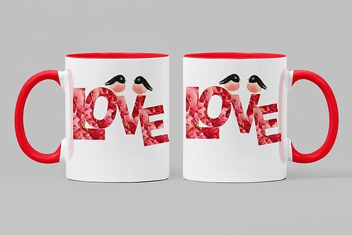 Love Birds Mug with Color Inside Red Inside Valentine's Gift