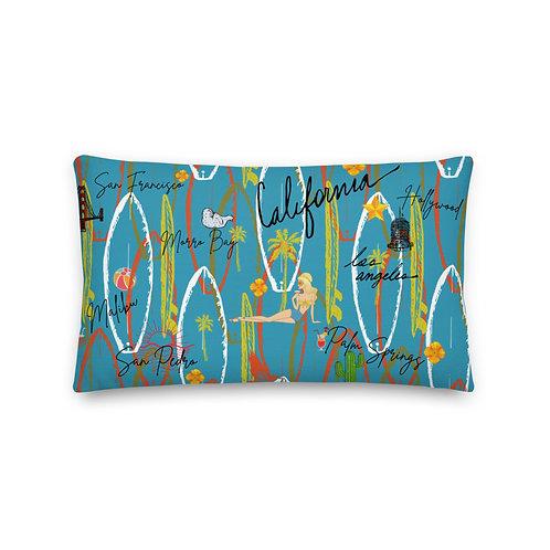 California Design Vintage Blue Premium Pillow And Case