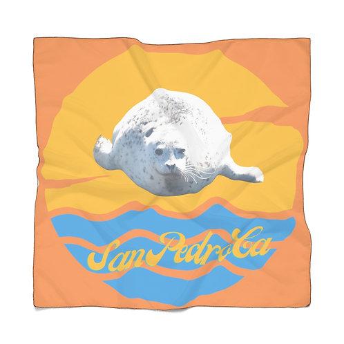San Pedro California White Seal Orange Poly Scarf