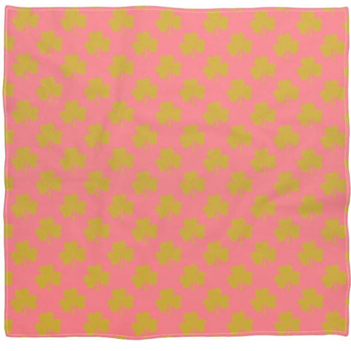 Silk Square Bandana Scarf Pink With Gold Shamrocks