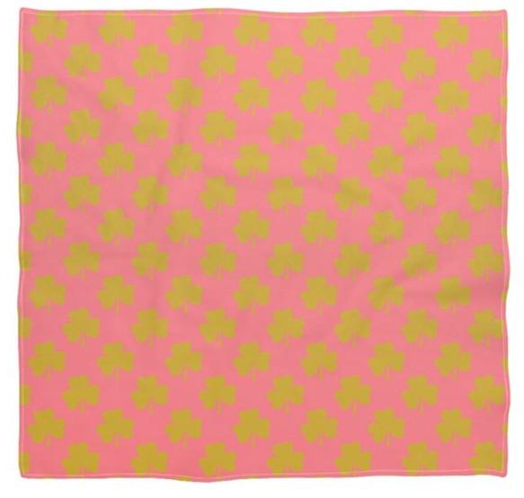 Vintage Pink Silk Scarf and Gold Shamroc