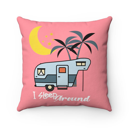 Pillow And Cover | Retro Pink Pillow | Camping Funny Quote | I Sleep Around