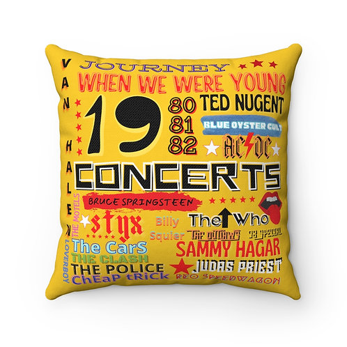 Rock N Roll Pillow | Gold Rock N Roll Pillow And Cover | 80s Concert Pillow