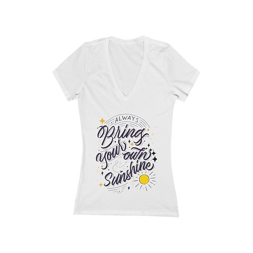 Women's Fitted Deep V-Neck Tee | Positive Quote