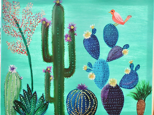 Note Card Whimsical Cactus Art By Concetta Ellis