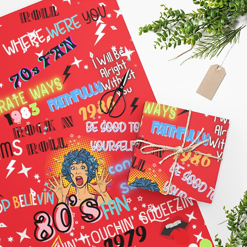 Wrapping Paper Rock N Roll Band Rocker Fan 70s and 80s