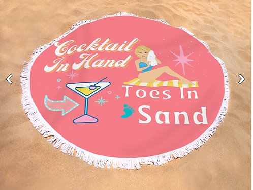 Beach Towel Round Cocktail In Hand Toes In Sand