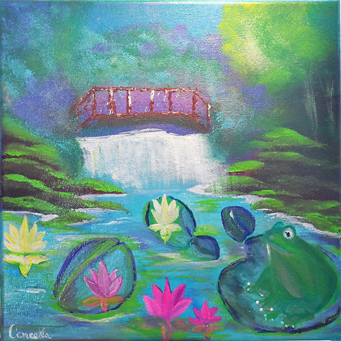"Square Note Card ""A Pond Life"" By Concetta Ellis"