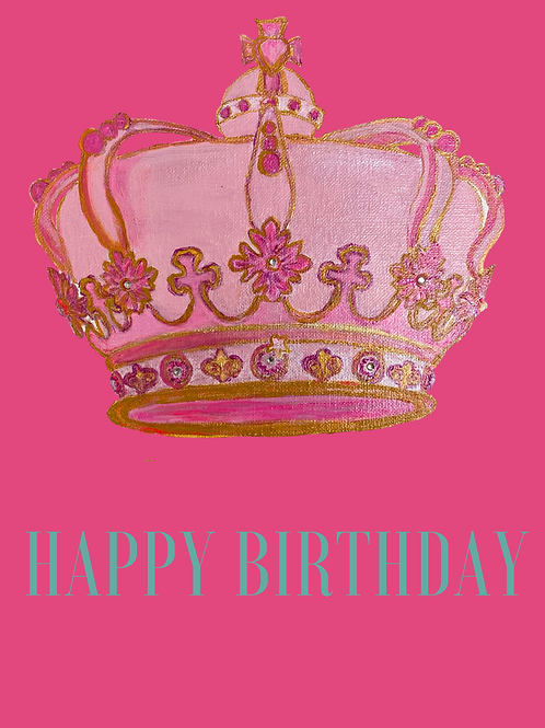 Note Card Happy Birthday Crown