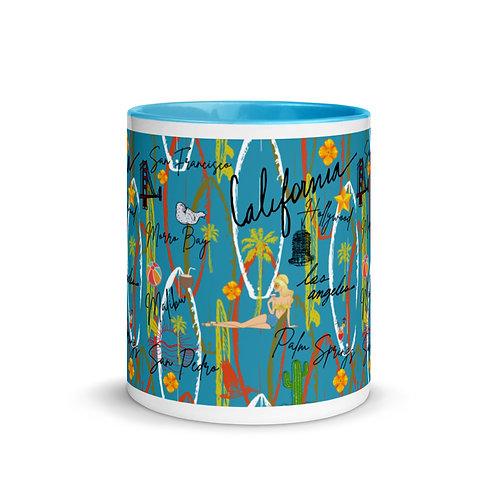 California Vintage Retro Blue Mug with Color Inside