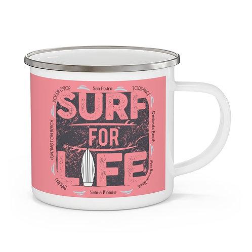 Enamel Campfire Mug | Surf For Life | Vintage Pink | LA & OC