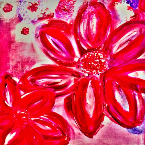 Square Note Card Flowers Painting 2020