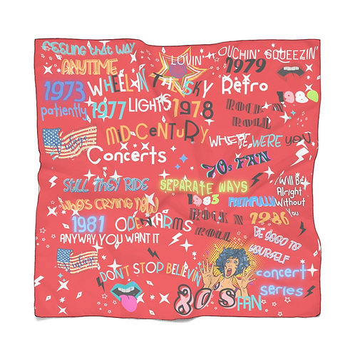 Rock N Roll Scarf | Red Graphic Scarf | Summer Scarf | Lightweight Scarf