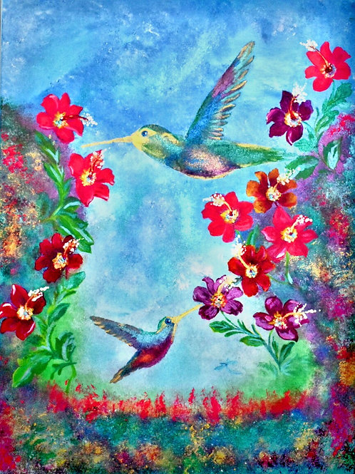 Note Card Painting Birds Of Paradise
