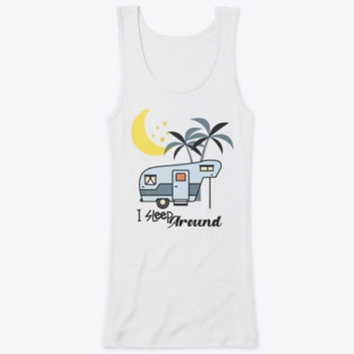 Women's Fitted Tank Top Camping Funny Quote I Sleep Around