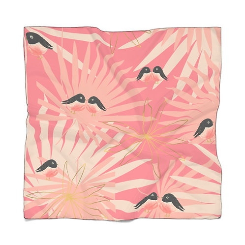 Pink And Black Birds Silk Satin Bandana Vintage Look