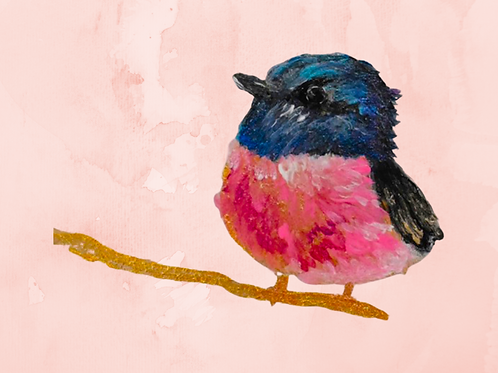 Note Cards (10ea) Painted Pink Bird By Concetta Ellis