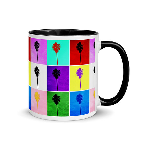 Mug Pop Art Palm Trees Color Inside By Concetta Ellis
