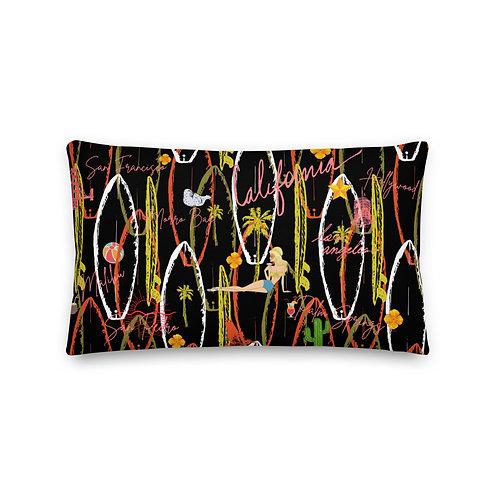 California Vintage Design Black Premium Pillow