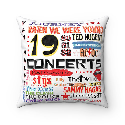 80's When We Were Young Square Pillow | White