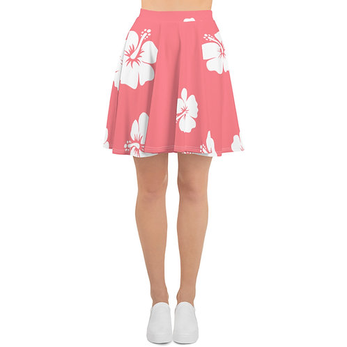Pink White Hibiscus Flower Skater Skirt