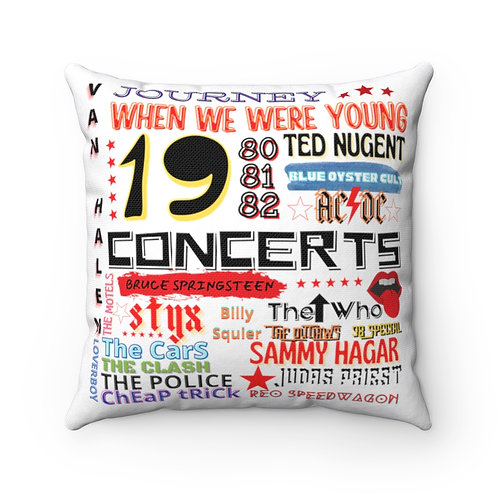 Rock N Roll Pillow | White Rock N Roll Pillow And Cover | 80s Concert Pillow