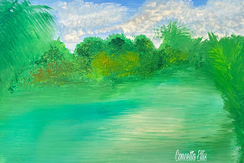 Greeting Cards Tropical River By Concetta Ellis