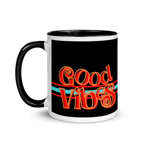 Good Vibes Black Mug with Color Inside