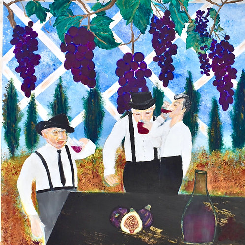 Square Note Card Italian 3 Generations Drinking Wine