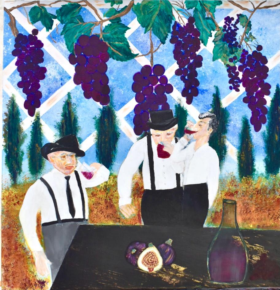 Painting Brascia Men Drinking Wine Origi