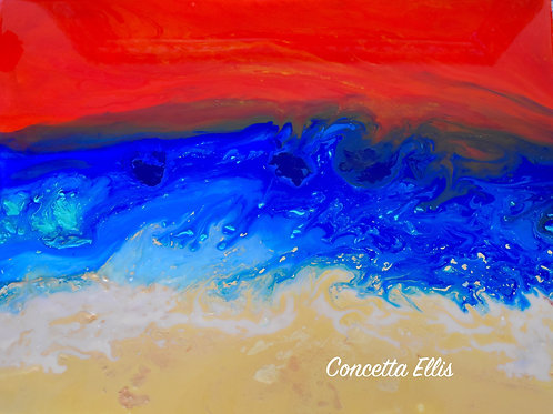 Note Card Abstract Painting Red Sunset Ocean By Concetta Ellis