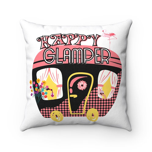 Pillow | Retro Square Pillow | Camping Funny Quote Happy Glamper