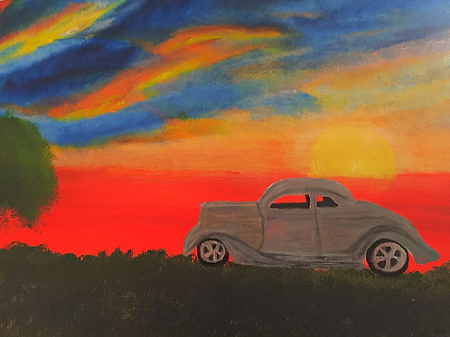 Note Card Vintage Car Couple And Full Sunset Sky