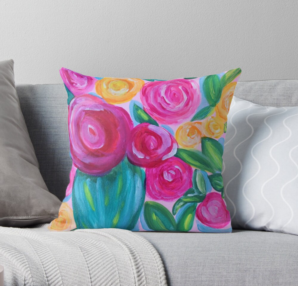 Pink Bright Floral Pillow Painting Desig
