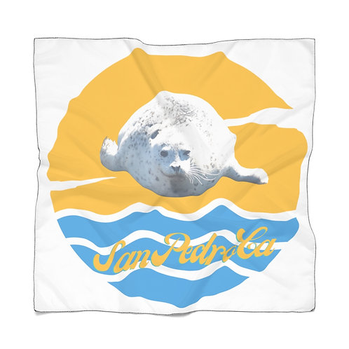 San Pedro California White Seal Poly Scarf