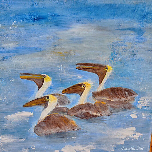 Note Cards Pelicans Painting By Concetta Ellis